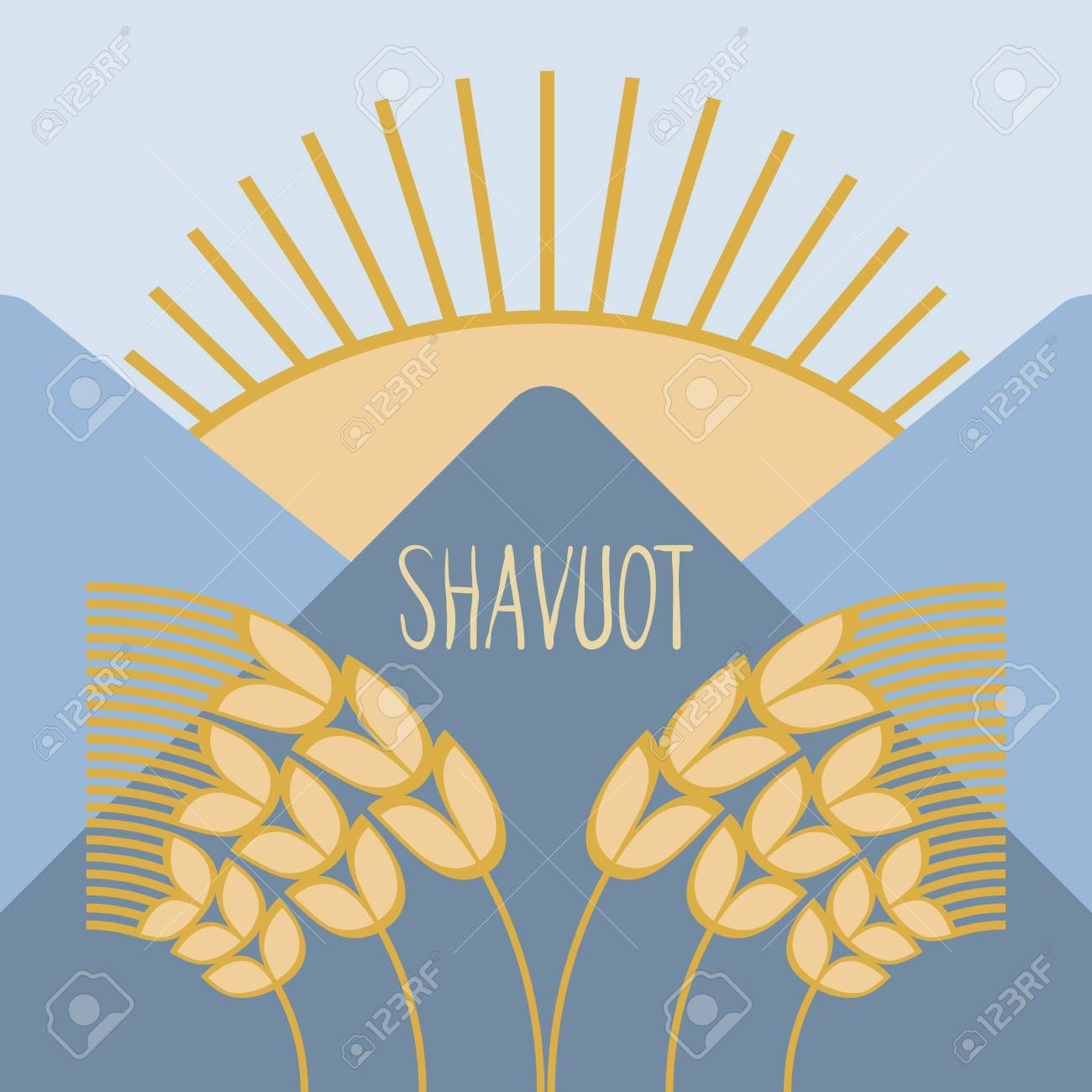 hight resolution of template in a minimalist style to create labels stickers uncluttered layout of the poster shavuot vector illustration for jewish holiday frame of wheat
