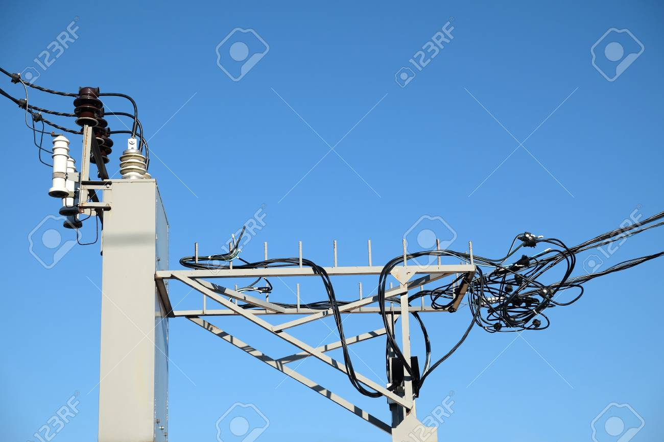 hight resolution of stock photo top part of rural power supply transformer with high voltage wires