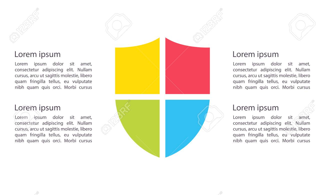 shield infographic template clipart