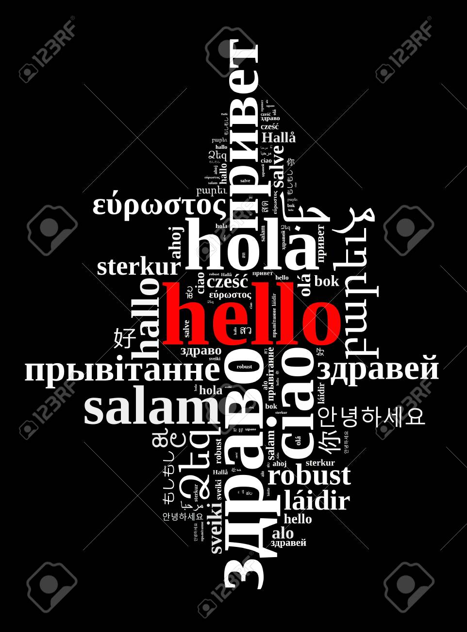 word hello in different