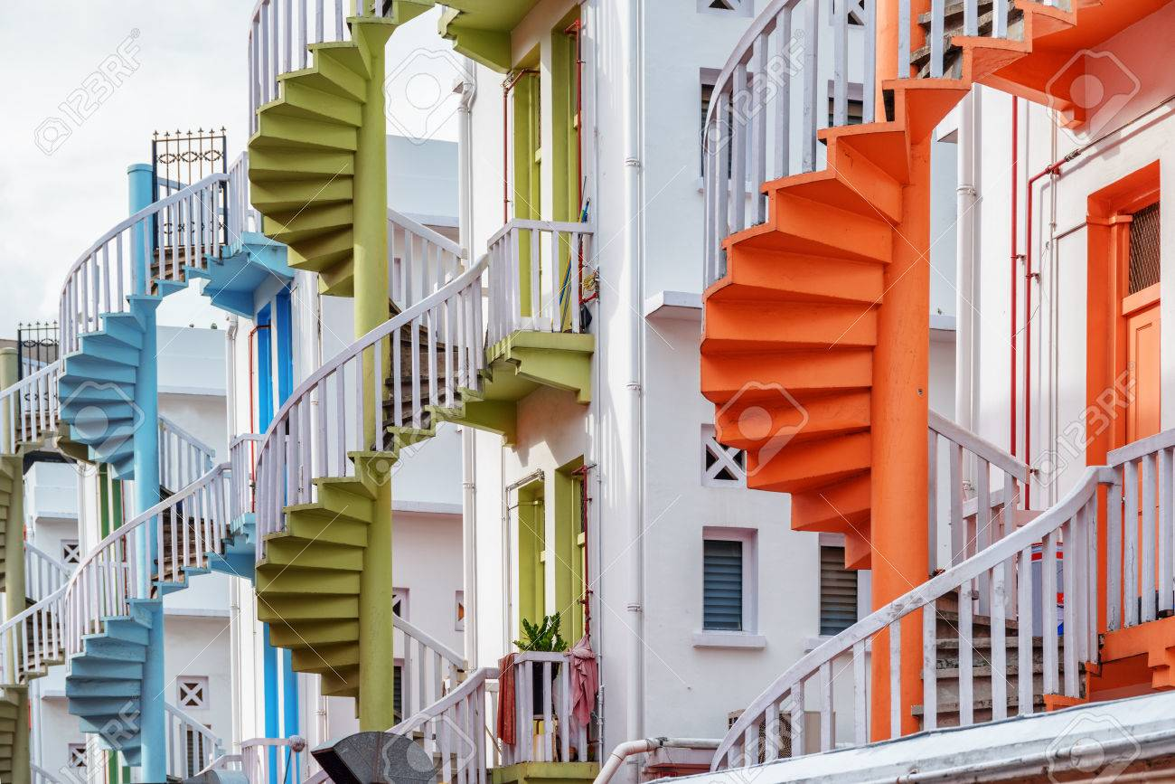 Scenic Colorful Exterior Spiral Staircases Outside A Whitewashed Stock Photo Picture And Royalty Free Image Image 76749537