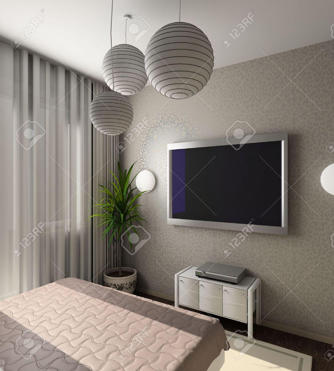 iinterior moderne de chambre a coucher avec tv 3d render