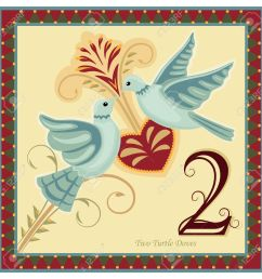 the 12 days of christmas 2 nd day two turtle doves vector [ 1300 x 1300 Pixel ]