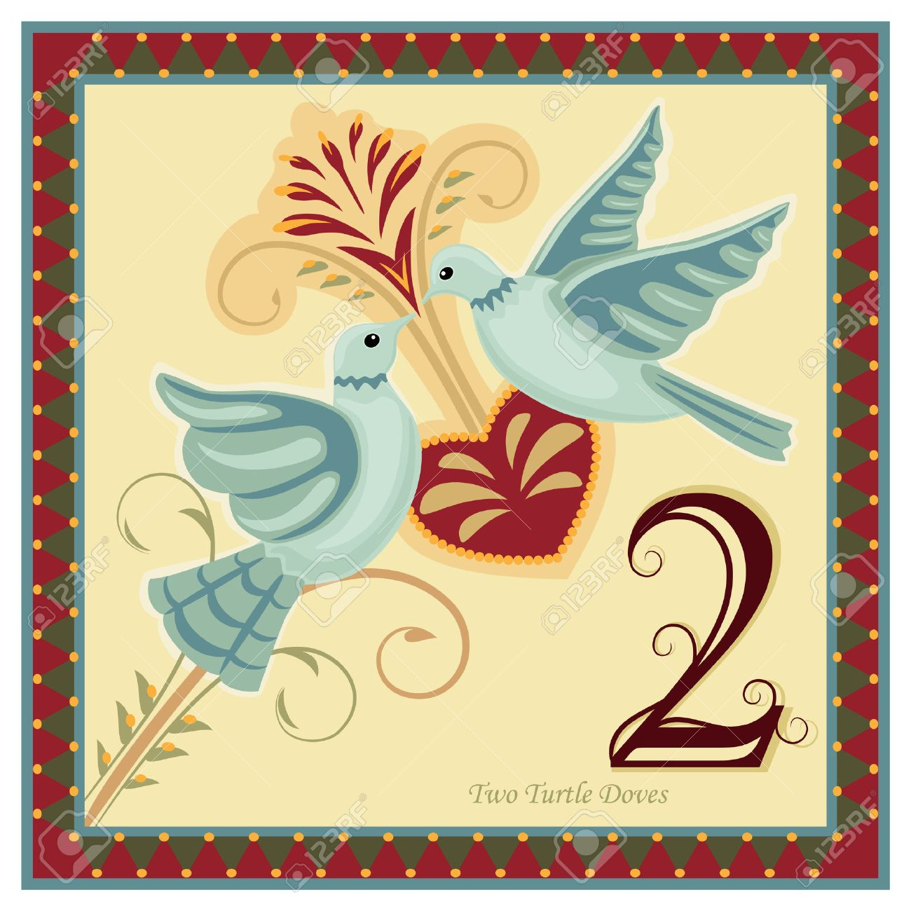 hight resolution of the 12 days of christmas 2 nd day two turtle doves vector