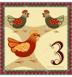 the 12 days of christmas 3 rd day three french hens stock vector [ 1300 x 1300 Pixel ]