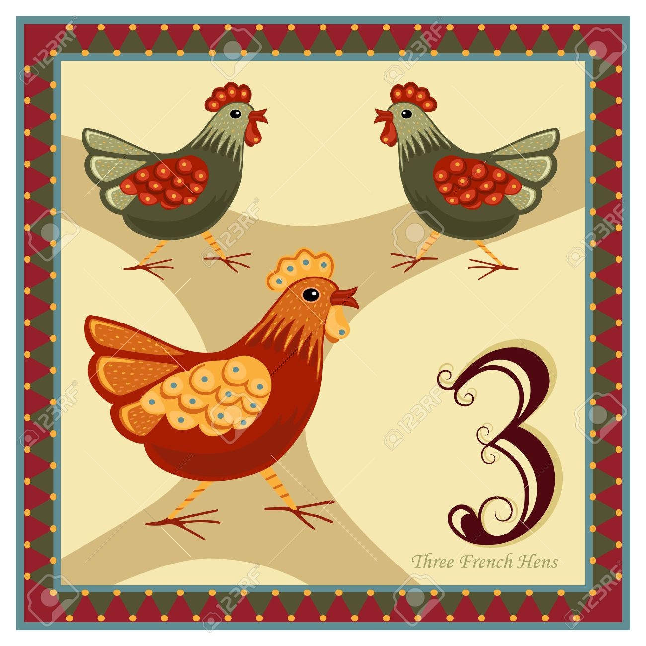 hight resolution of the 12 days of christmas 3 rd day three french hens stock vector