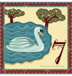 the 12 days of christmas 7th day seven swans a swimming stock vector  [ 1300 x 1300 Pixel ]