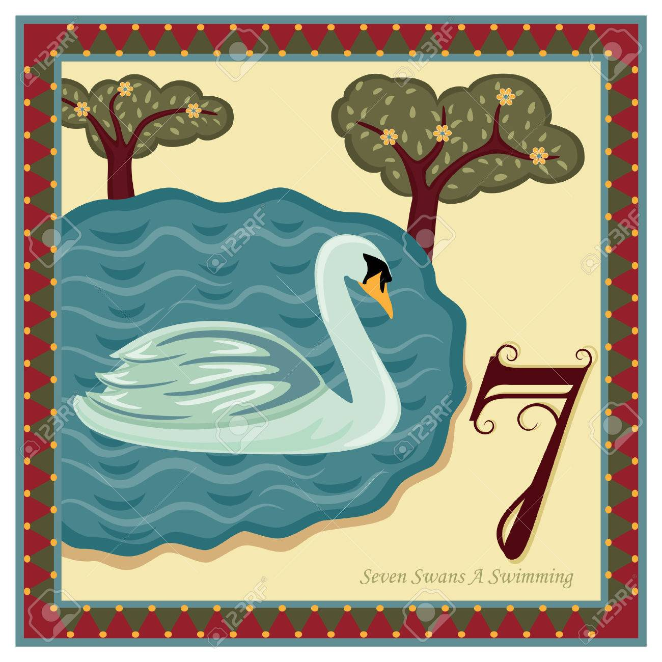 hight resolution of the 12 days of christmas 7th day seven swans a swimming stock vector