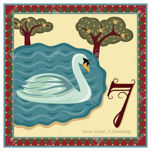 small resolution of the 12 days of christmas 7th day seven swans a swimming stock vector