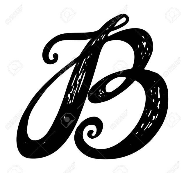 Letter B. Calligraphy Alphabet Typeset Lettering. Hand Drawn