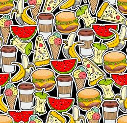 Colored Wallpaper Background Design With Fast Food Fruits And Royalty Free Cliparts Vectors And Stock Illustration Image 94303050