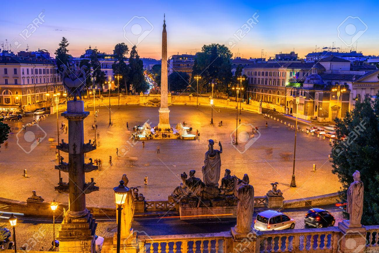 Sunset View Of Piazza Del Popolo People S Square In Rome Italy Stock Photo Picture And Royalty Free Image Image 67788605