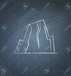 mountain with ledges icon on chalkboard rock with plateau symbol stock vector 90824273 [ 1300 x 1300 Pixel ]