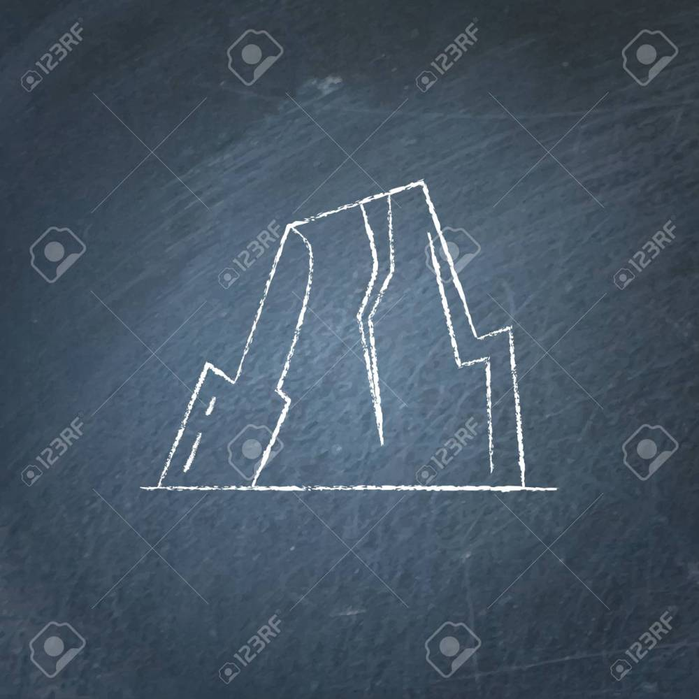 medium resolution of mountain with ledges icon on chalkboard rock with plateau symbol stock vector 90824273