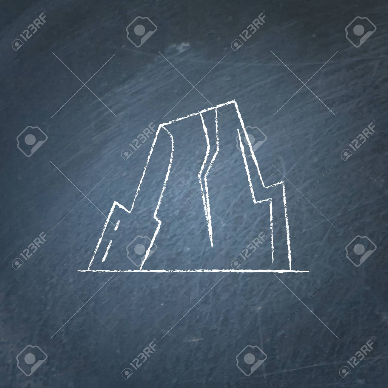 hight resolution of mountain with ledges icon on chalkboard rock with plateau symbol stock vector 90824273