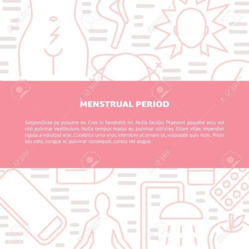 small resolution of monthly period symptoms and treatment banner template in line style menstrual pain concept background with