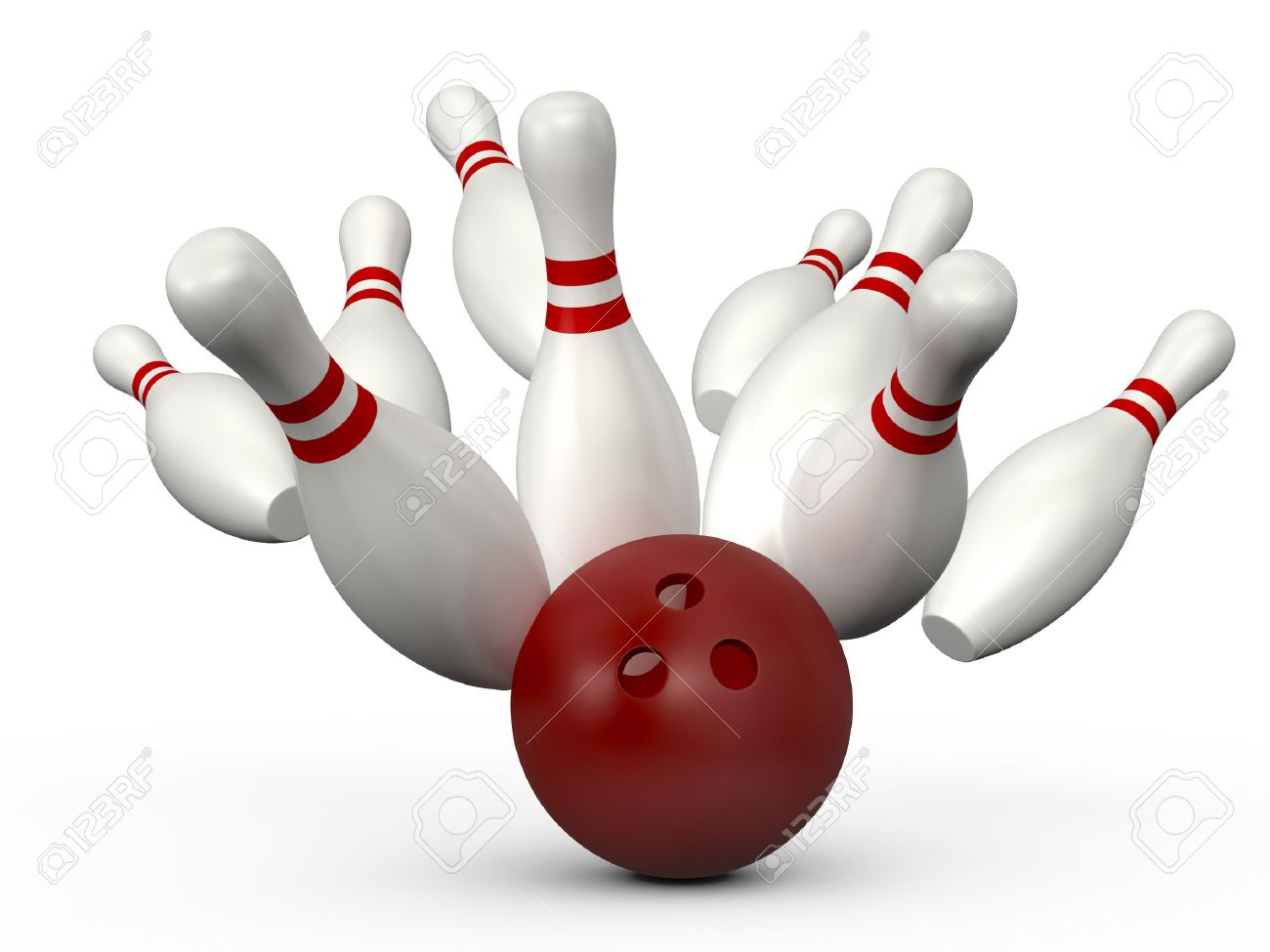 red bowling ball crashes