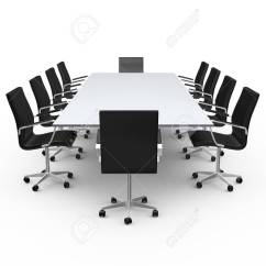 Meeting Room Chairs High Back Dining Chair Covers Conference Table And Black Office In Isolated On White Background Stock