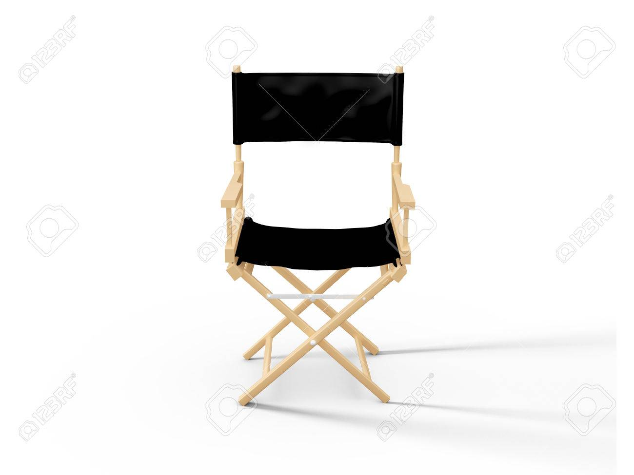 directors chair white wicker peacock front view of in film industry isolated on background stock photo