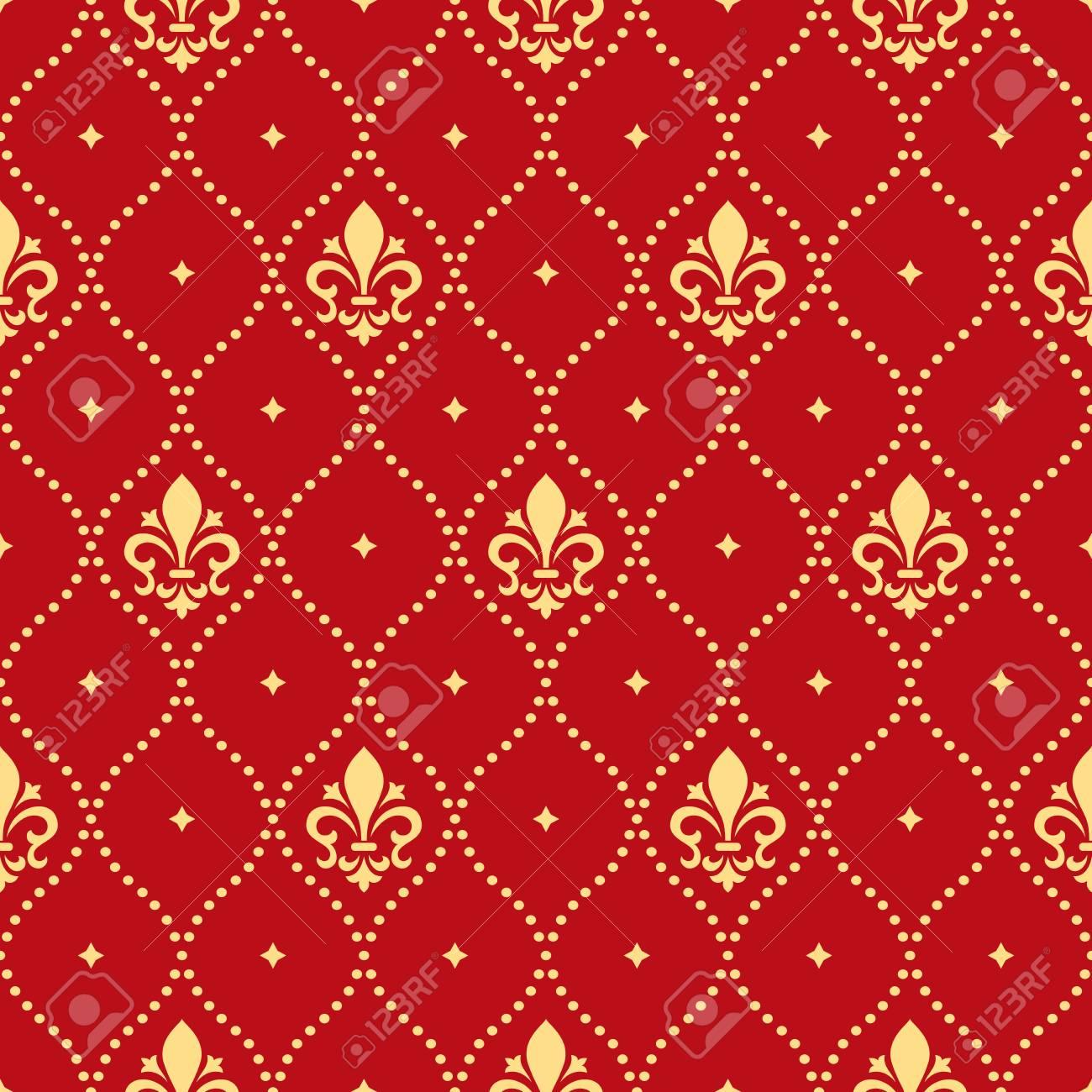 motif floral papier peint baroque damasse fond vectorielle continue ornement rouge et or