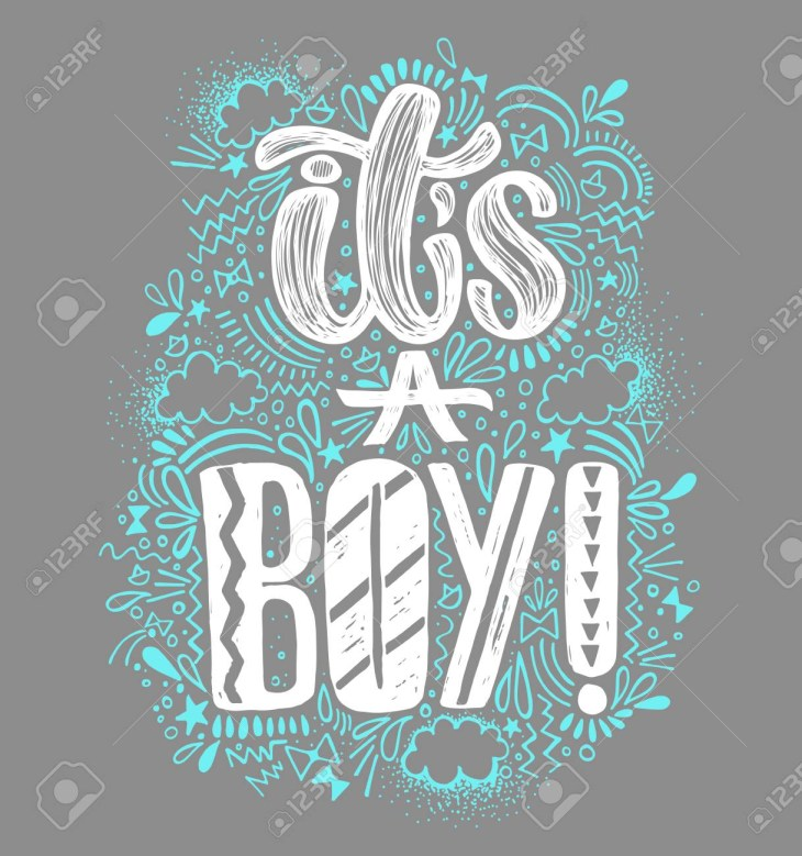 It's a boy Baby shower boy poster hand written lettering. Gray background  and white and