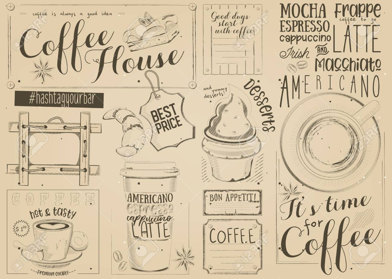 coffee menu placemat design
