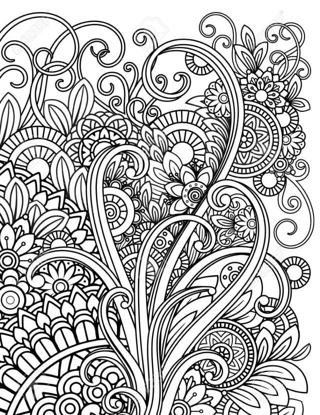 Mandala Adult Coloring Pages Stock Photo, Picture And Royalty Free