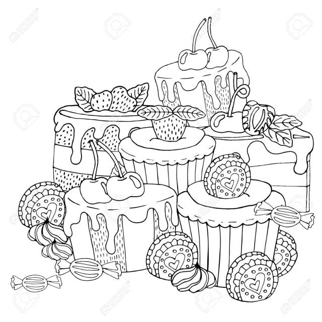 Coloring Page With Cake, Cupcake, Candy And Other Dessert With