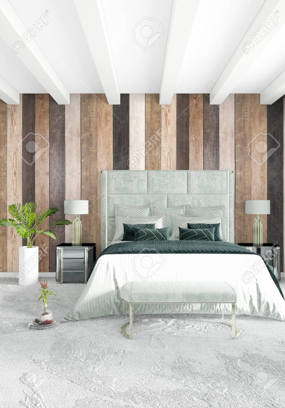 design d interieur de style minimaliste chambre blanche avec mur en bois et canape gris rendu 3d illustration 3d