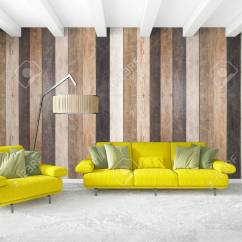 Minimal Sofa Design Italy Leather Singapore Bedroom Interior Wood Wall Yellow And Copyspace Into An Empty Frame