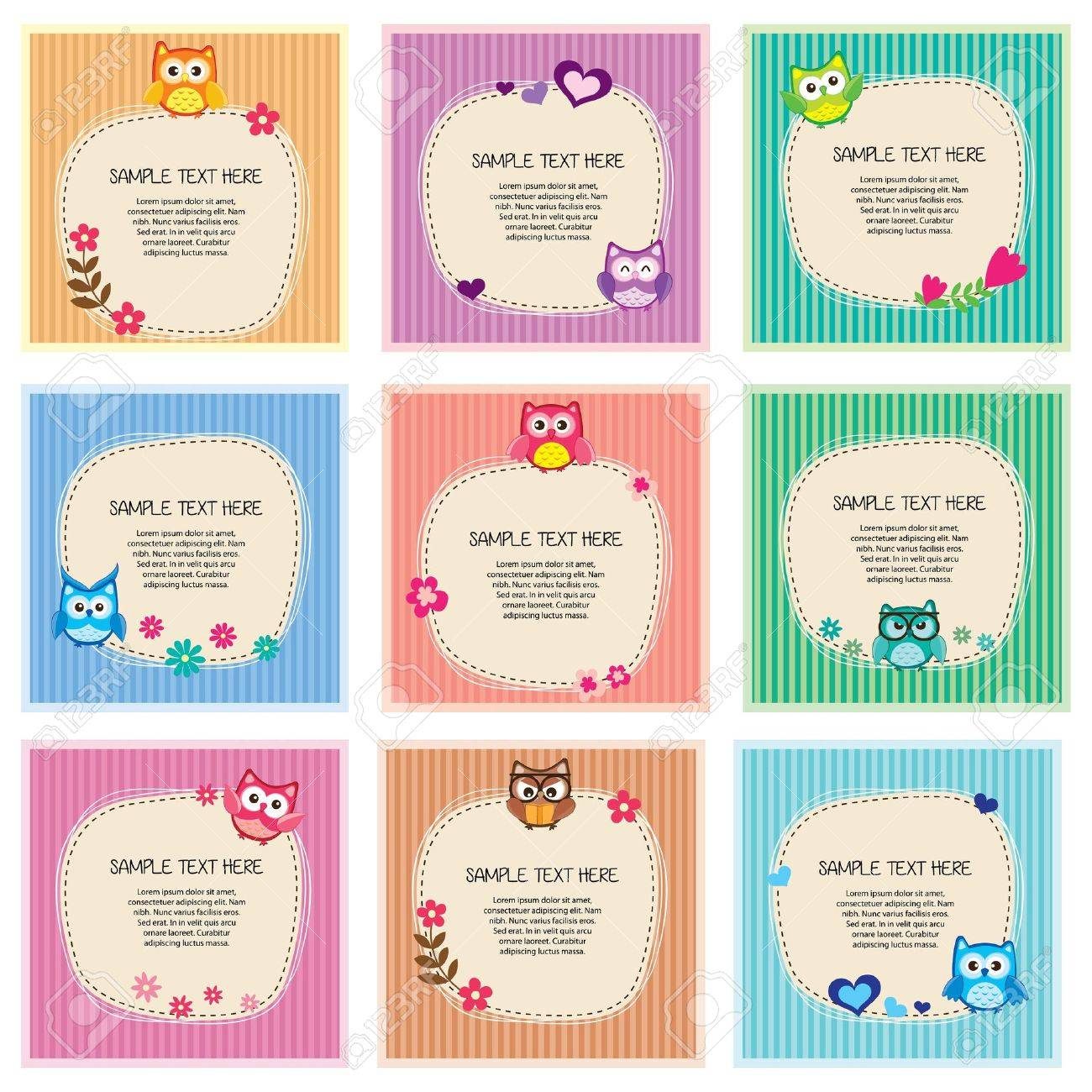 cute owl frames set