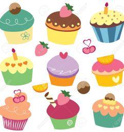 vector yummy cupcakes clip art [ 1300 x 1300 Pixel ]