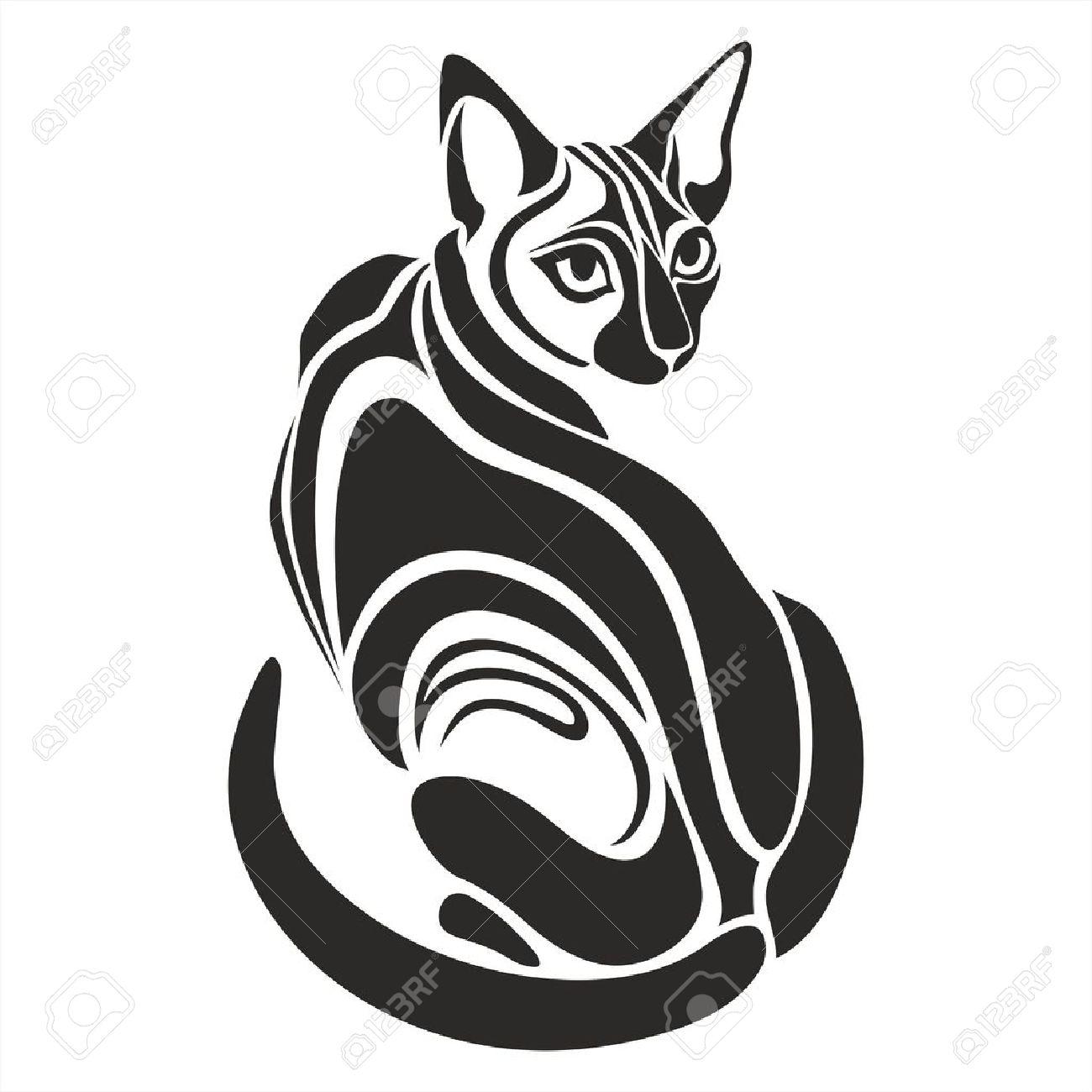 Gato Egipcio Negro Peligroso Vector De Dibujo Gráfico En Busca De