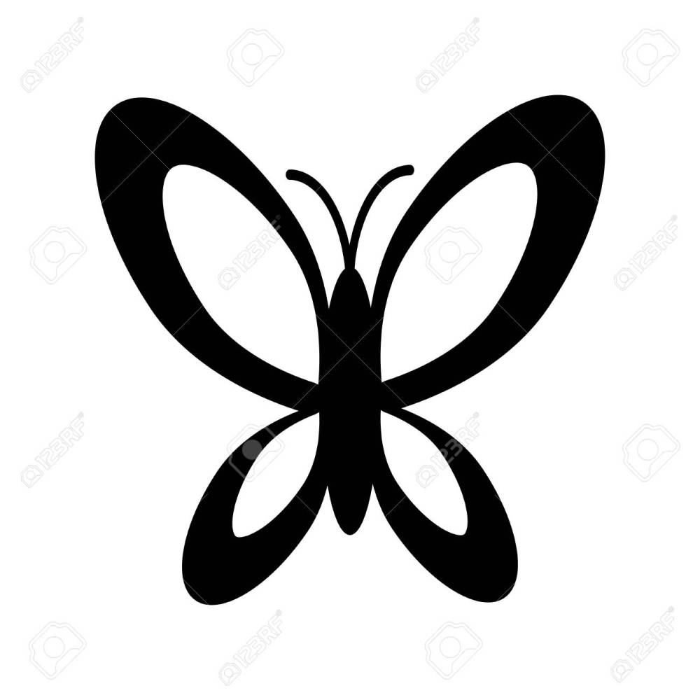 medium resolution of simple black and white butterfly icon stock vector 59771665