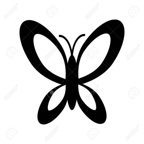 small resolution of simple black and white butterfly icon stock vector 59771665