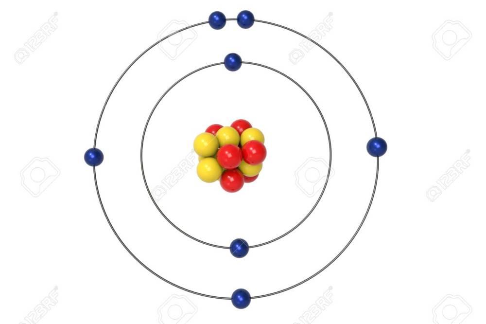 medium resolution of illustration nitrogen atom bohr model with proton neutron and electron 3d illustration