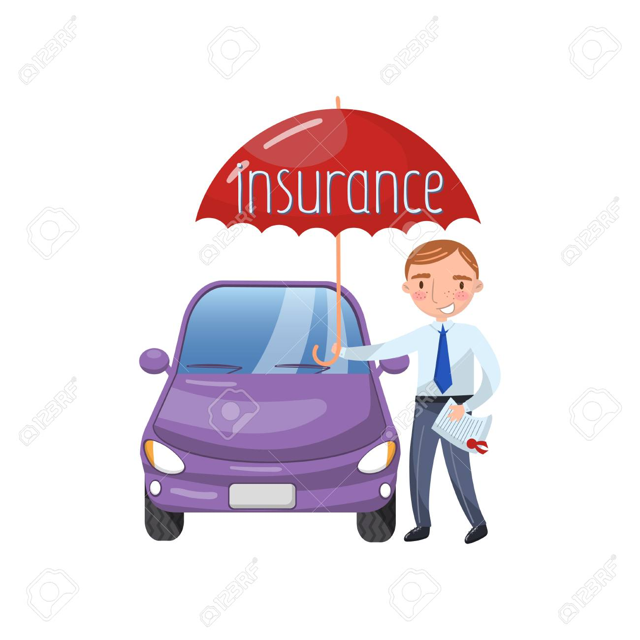 Insurance Agent Standing With Umbrella Protecting Car Auto Insurance Royalty Free Cliparts Vectors And Stock Illustration Image 94217589