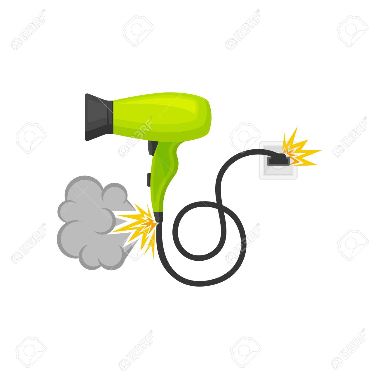 hight resolution of broken burning hair dryer damaged home appliance vector illustration isolated on a white background