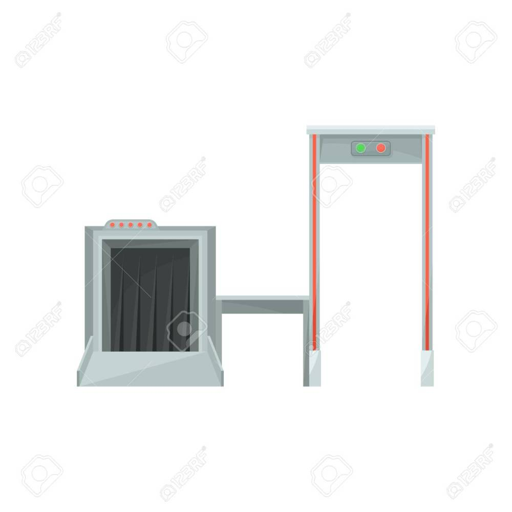 medium resolution of stock photo x ray machine for monitoring baggage and metal detector gate for checking passengers airport security system flat vector design