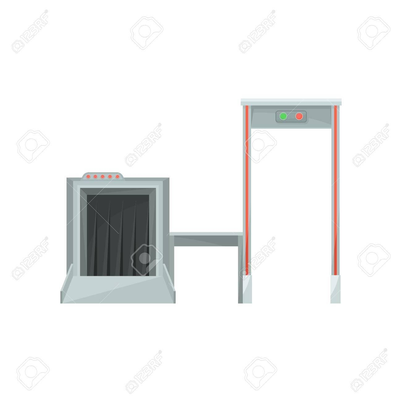 hight resolution of stock photo x ray machine for monitoring baggage and metal detector gate for checking passengers airport security system flat vector design