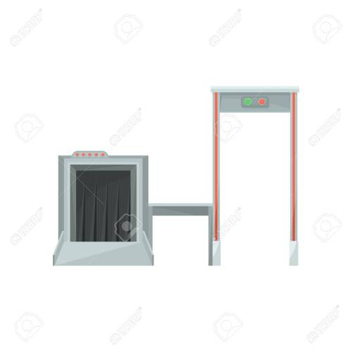 small resolution of stock photo x ray machine for monitoring baggage and metal detector gate for checking passengers airport security system flat vector design