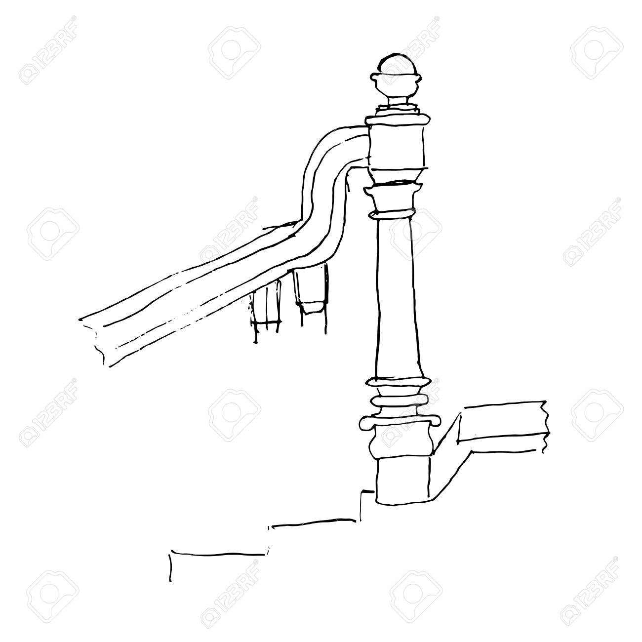 hight resolution of stair part draft sketch black outline on white background vector illustration stock vector
