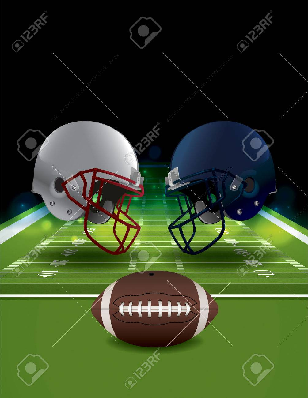 hight resolution of an illustration of american football helmets clashing on a field with a ball vector eps