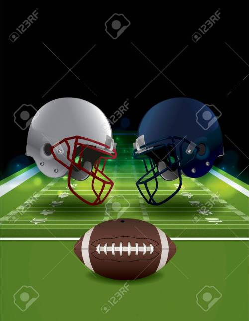 small resolution of an illustration of american football helmets clashing on a field with a ball vector eps