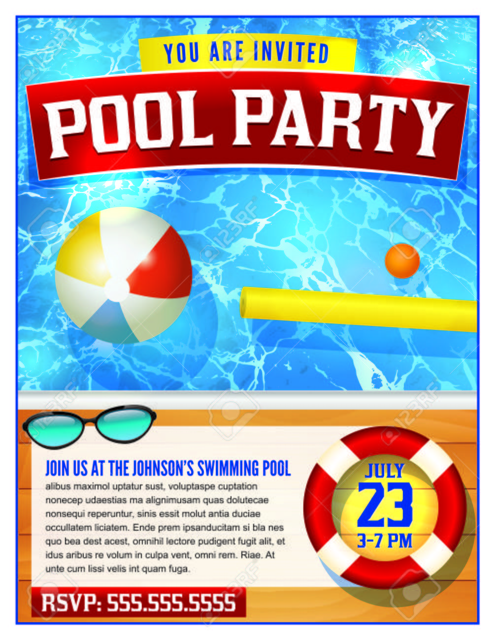 A Template For A Pool Party Invitation. Vector Eps 10 Available. Stock  Vector -