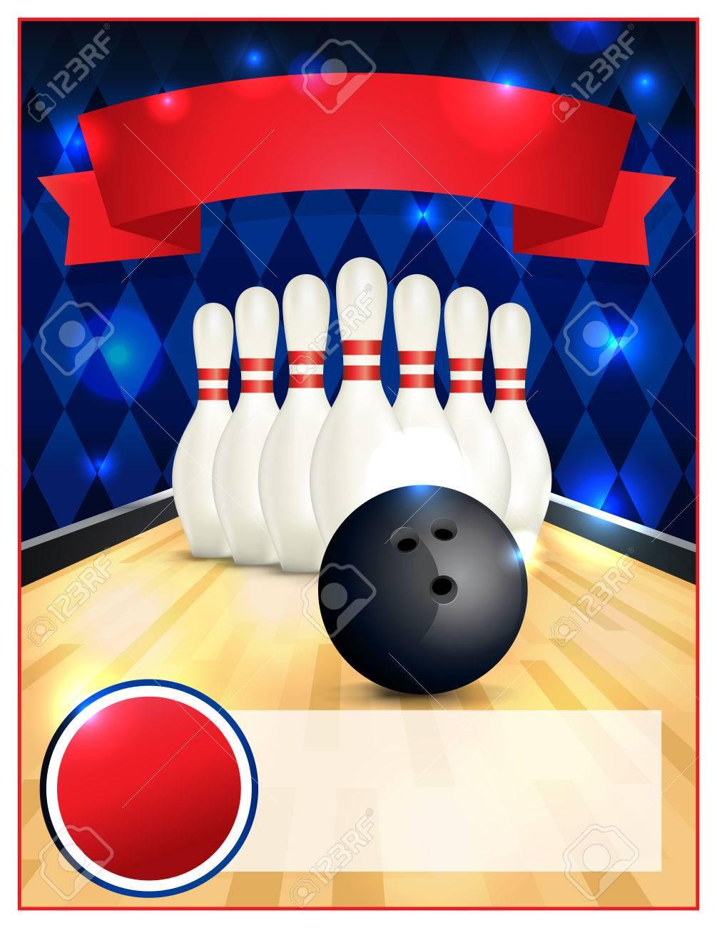 un modele vierge de bowling flyer grand pour les fetes d anniversaire des ligues de bowling et des tournois