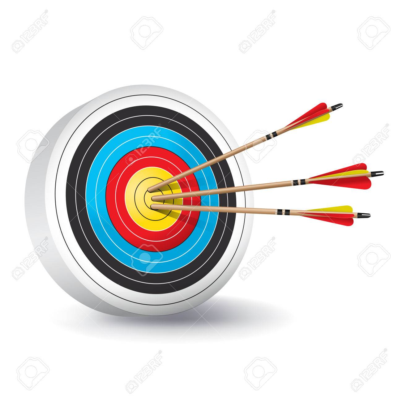 hight resolution of a traditional archery target with colorful rings and wooden red and yellow fletched arrows in the