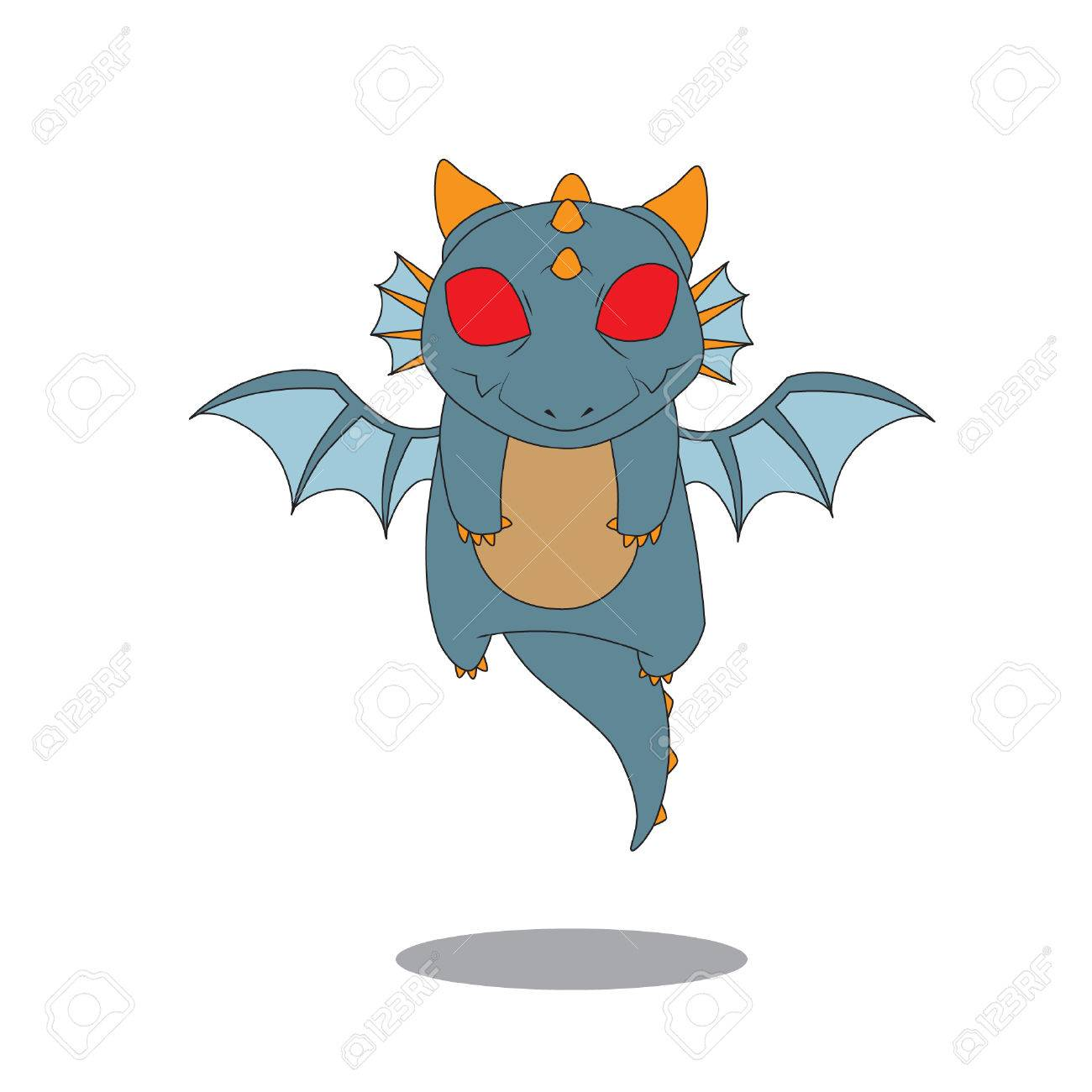 Cute Baby Dragon Flying Vector Stock Royalty Free Cliparts Vectors And Stock Illustration Image 70047903