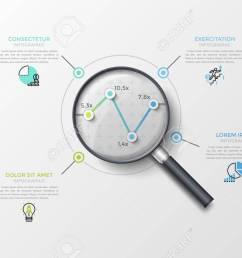 illustration linear chart or graph with 4 points seen through magnifying glass thin line pictograms and text boxes concept of data analyzing  [ 1300 x 866 Pixel ]