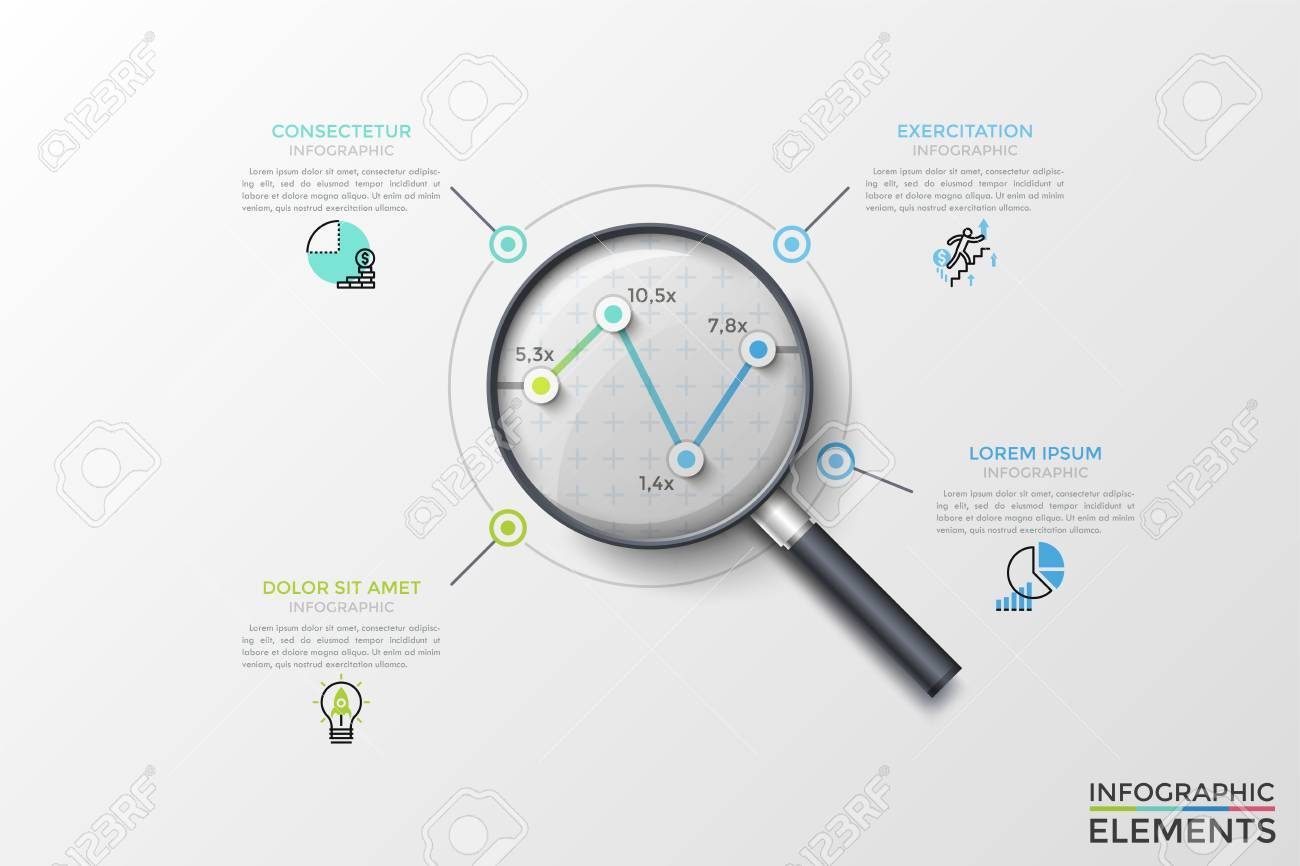 hight resolution of illustration linear chart or graph with 4 points seen through magnifying glass thin line pictograms and text boxes concept of data analyzing